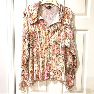 Komarov Flowing and Lace Paisley Shirt, XL